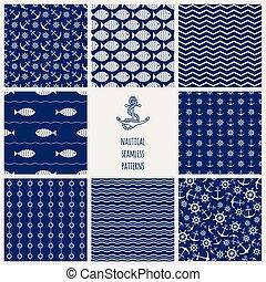 Set of 8 seamless nautical patterns