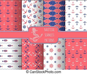 Set of 8 seamless nautical patterns