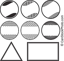 Set of 8 solid style rubber stamps templates