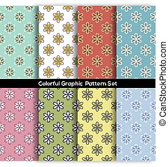 Set Of 8 Vintage Flowers Graphic Pattern Vector Illustration