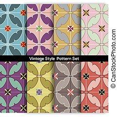 Set Of 8 Vintage Graphic Pattern Vector Illustration