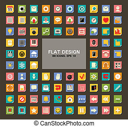 Set of 88 Flat Web and Mobile Icons.