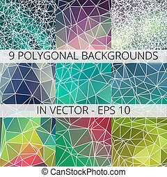 Set of 9 abstract triangle polygonal backgrounds