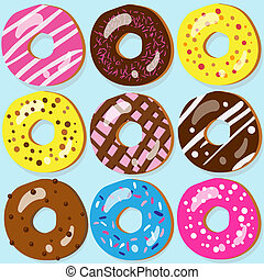 Set of 9 assorted doughnut icons