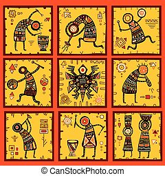 Set of 9 backgrounds with African ethnic patterns -...