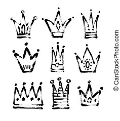 set of 9 black and white sketch drawing princess and the king
