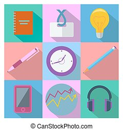 Set of 9 business and office equipment icons