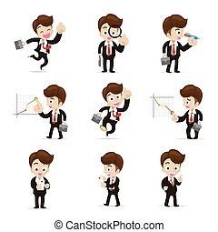 Set of 9 businessman in difference action vector...