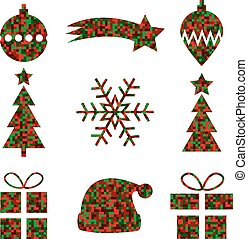Set of 9 Christmas icons with pixel