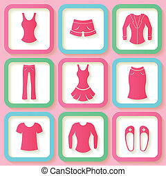 Set of 9 colorful icons of clothing - Set of 9 pink icons of...