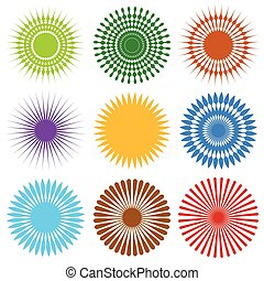 Set of 9 different element with random radial lines