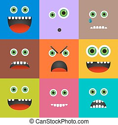 Set of 9 different emoticons in square shape