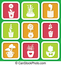 Set of 9 different icons with pots