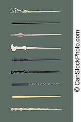 Set of 9 different magic wands for witches and wizards...
