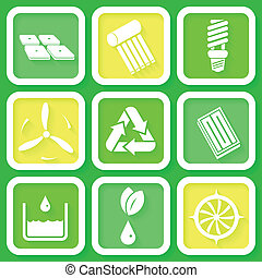 Set of 9 eco icons