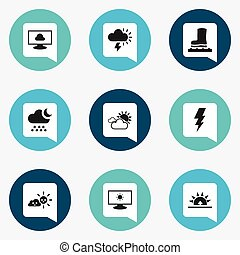 Set Of 9 Editable Air Icons. Includes Symbols Such As Morning, Waterproof Shoes, Overcast Weather And More. Can Be Used For Web, Mobile, UI And Infographic Design.