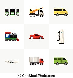 Set Of 9 Editable Automobile Flat Icons. Includes Symbols Such As Missile, Shipping, Aircraft And More. Can Be Used For Web, Mobile, UI And Infographic Design.