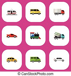 Set Of 9 Editable Automobile Flat Icons. Includes Symbols Such As Limousine, Shipping, Cement Blender And More. Can Be Used For Web, Mobile, UI And Infographic Design.