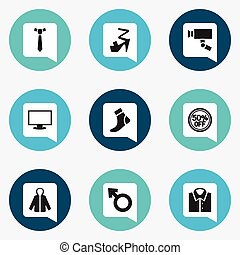 Set Of 9 Editable Business Icons. Includes Symbols Such As Necktie, Hosiery, Rebate And More. Can Be Used For Web, Mobile, UI And Infographic Design.