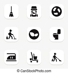 Set Of 9 Editable Cleaning Icons. Includes Symbols Such As Cleaner, Trash Bin, Broomstick And More. Can Be Used For Web, Mobile, UI And Infographic Design.