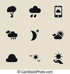 Set Of 9 Editable Climate Icons. Includes Symbols Such As Clouded Sunshine, Timber, Rainy Autumn And More. Can Be Used For Web, Mobile, UI And Infographic Design.