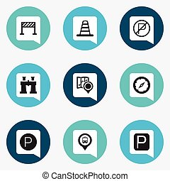 Set Of 9 Editable Direction Icons. Includes Symbols Such As...