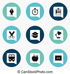 Set Of 9 Editable Education Icons. Includes Symbols Such As Apple, Supervision List, Cutting And More. Can Be Used For Web, Mobile, UI And Infographic Design.