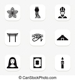 Set Of 9 Editable Faith Icons. Includes Symbols Such As Egypt God, Christian, Pyramid And More. Can Be Used For Web, Mobile, UI And Infographic Design.
