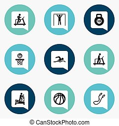 Set Of 9 Editable Fitness Icons. Includes Symbols Such As Jogging, Executing Running, Training Pool And More. Can Be Used For Web, Mobile, UI And Infographic Design.