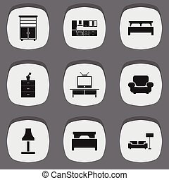 Set Of 9 Editable Furniture Icons. Includes Symbols Such As Bearings, Cooking Furnishings, Plant Pot And More. Can Be Used For Web, Mobile, UI And Infographic Design.