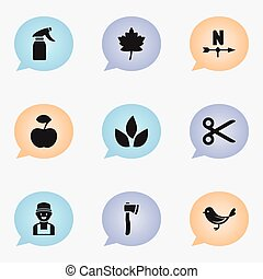 Set Of 9 Editable Gardening Icons. Includes Symbols Such As Leaf, Farmer, Breeze Direction And More. Can Be Used For Web, Mobile, UI And Infographic Design.