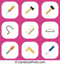 Set Of 9 Editable Instrument Flat Icons. Includes Symbols Such As Meter, Axe, Malleus And More