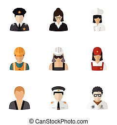 Set Of 9 Editable Job Flat Icons. Includes Symbols Such As...