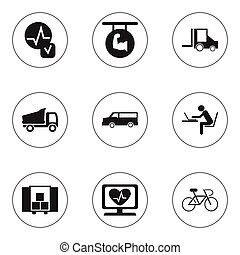Set Of 9 Editable Mixed Icons. Includes Symbols Such As Auto, Velocipede, Camion And More