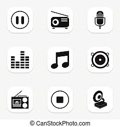 Set Of 9 Editable Mp3 Icons. Includes Symbols Such As Media Fm, Music, Cassette Player And More. Can Be Used For Web, Mobile, UI And Infographic Design.