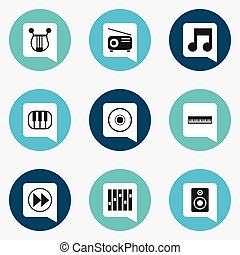 Set Of 9 Editable Mp3 Icons. Includes Symbols Such As Musical Instrument, Rewind, Cd And More. Can Be Used For Web, Mobile, UI And Infographic Design.