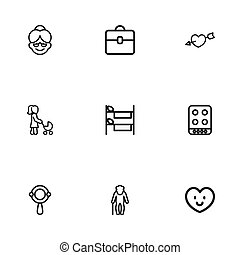 Set Of 9 Editable Relatives Icons. Includes Symbols Such As Grandma, Bunk , Cooker. Can Be Used For Web, Mobile, UI And Infographic Design.