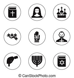 Set Of 9 Editable Religion Icons. Includes Symbols Such As Religious Sewn, Pope, Hanukkah And More. Can Be Used For Web, Mobile, UI And Infographic Design.