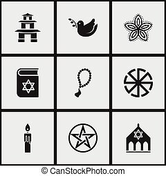 Set Of 9 Editable Religion Icons. Includes Symbols Such As Pagoda, Fire Wax, Pentagram And More. Can Be Used For Web, Mobile, UI And Infographic Design.