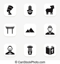 Set Of 9 Editable Religion Icons. Includes Symbols Such As...