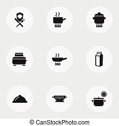 Set Of 9 Editable Restaurant Icons. Includes Symbols Such As Stewpot, Saucepan, Milk Bottle And More. Can Be Used For Web, Mobile, UI And Infographic Design.