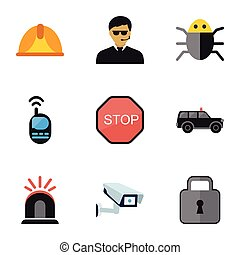Set Of 9 Editable Safety Icons. Includes Symbols Such As Security Camera, Hatchback, Guard And More. Can Be Used For Web, Mobile, UI And Infographic Design.