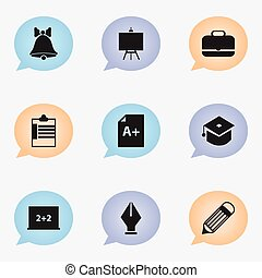 Set Of 9 Editable School Icons. Includes Symbols Such As Portfolio , Painter's Stand, Supervision List. Can Be Used For Web, Mobile, UI And Infographic Design.