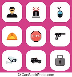 Set Of 9 Editable Security Icons. Includes Symbols Such As Gun, Close, Hatchback And More. Can Be Used For Web, Mobile, UI And Infographic Design.