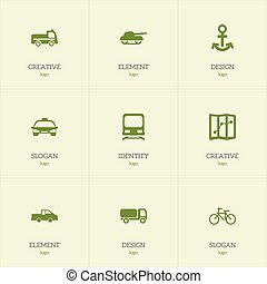Set Of 9 Editable Shipment Icons. Includes Symbols Such As Travel Pickup, Navigation, Cycle And More. Can Be Used For Web, Mobile, UI And Infographic Design.