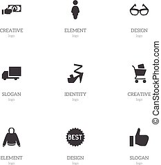 Set Of 9 Editable Shopping Icons. Includes Symbols Such As Payment, Wheelbarrow, Okay And More. Can Be Used For Web, Mobile, UI And Infographic Design.