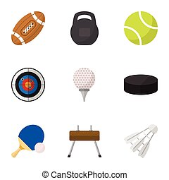 Set Of 9 Editable Sport Flat Icons. Includes Symbols Such As Miniball, Washer, Touchdown And More. Can Be Used For Web, Mobile, UI And Infographic Design.