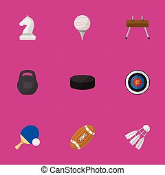 Set Of 9 Editable Sport Icons. Includes Symbols Such As Gir,...