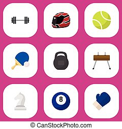 Set Of 9 Editable Sport Icons. Includes Symbols Such As Hard Hat, Gir, Billiards And More. Can Be Used For Web, Mobile, UI And Infographic Design.