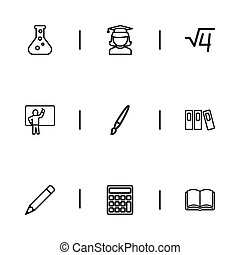 Set Of 9 Editable Teach Outline Icons. Includes Symbols Such As Calculate, Book, Formula And More. Can Be Used For Web, Mobile, UI And Infographic Design.
